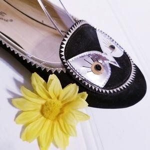 Madeline Stuart Black Velvet Owl Gold Silver Flats